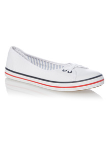 White Striped Sole Ballerina Shoes