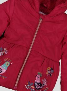 Pink Folk Bird Puffer Coat (9 Months - 6 Years