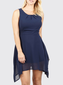 IZABEL Navy Tie Belted Midi Dress