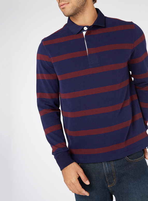 6bfd7718bcb4 Menswear Navy and Burgundy Rugby Shirt