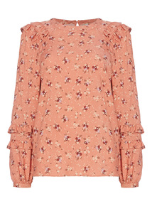 Floral Pattern Frill Blouse