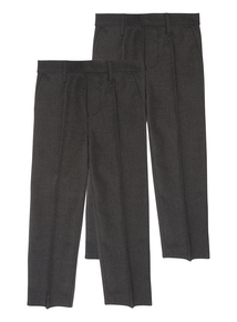 Boys Grey Trousers 2 Pack (2-12 years)