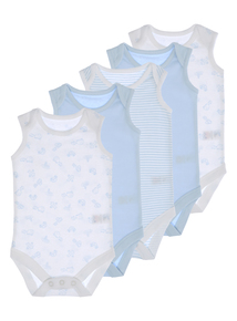 Blue And White Bodysuits 5 Pack (0-3 years)