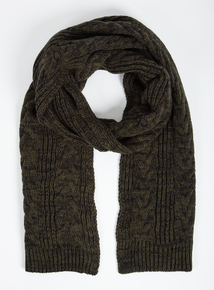 Green Cable Knit Scarf