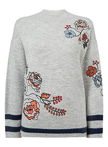 Grey Embroidered Jumper