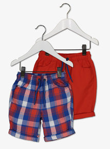 Red & Blue Cotton Shorts 2 Pack (9 months - 6 years)