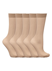 Beige Lycra 15 Denier Ankle Highs