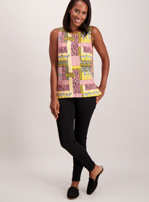 Multicoloured Animal Print Sleeveless Top