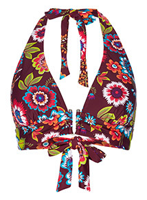 Floral Halter Neck Bikini Top