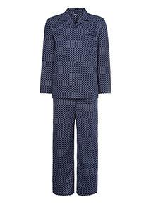 Navy Geometric Print Traditional Pyjamas