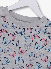 Grey Butterfly Print Sweatshirt (3-14 years)