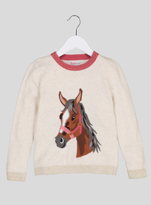 Cream Horse Motif Knitted Jumper (3-14 years)