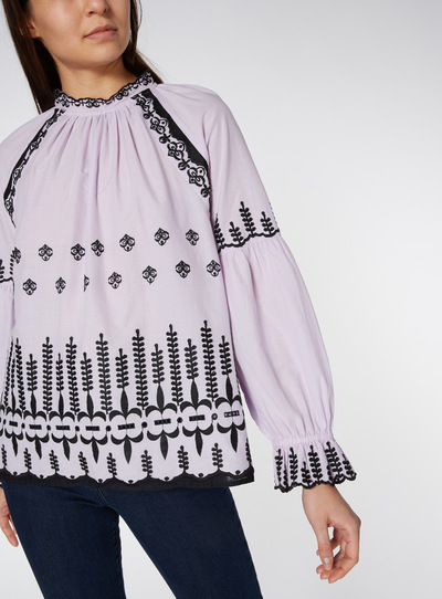 Contrast Embroidered Blouse