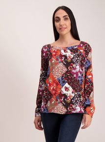 Floral Patchwork Long Sleeve Blouse