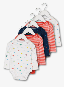 Multicoloured Helicopter Bodysuits 5 Pack