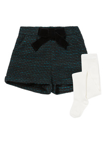 Blue Metallic Shorts & Tights Set (9 months-5 years)