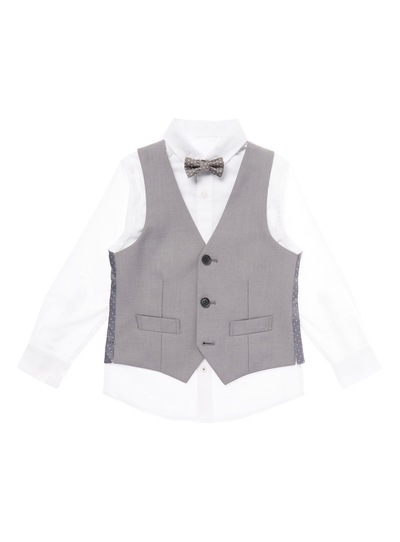 Grey Occasion Shirt With Waistcoat And Bow Tie (3-14 years)