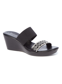 Black Diamanté Strap Wedge Sandals