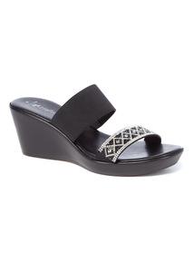 Sole Comfort Black Diamanté Strap Wedge Sandals