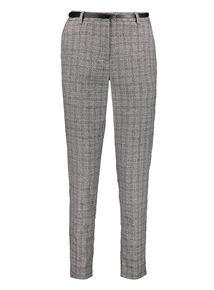 Grey Check Tapered Belted Trousers