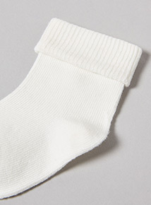 4 Pack White Roll Top Socks (0-24 months)