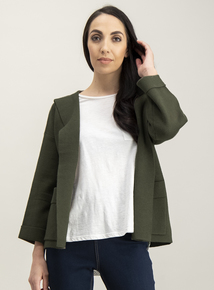 Online Exclusive Khaki Hooded Knitted Jacket