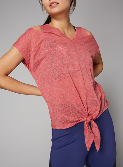 Pink Plain Tie Hem Top