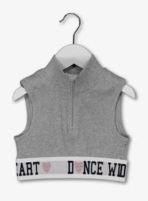 Grey 'Dance With Your Heart' Zip Neck Crop Top (3 - 14 Years)