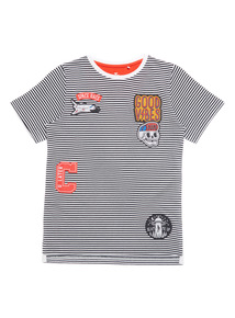 Navy Badge Stripe Top (3 - 12 years)