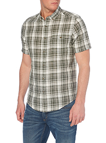 Khaki Linen Check Shirt