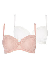 2 Pack Textured Mesh Bra