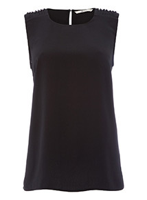 Pearl Ruche Shoulder Shell Top