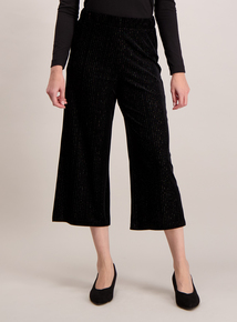 Black Velvet Wide Leg Cropped Trousers