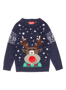 Navy Christmas Rudolph Light and Sound Jumper (3 -14 years)
