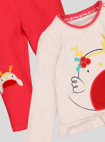 Christmas Red Robin Cotton T-Shirt with Leggings (0-24 months)