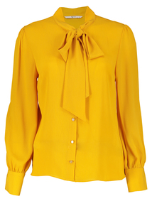 Mustard Pussy Bow Blouse