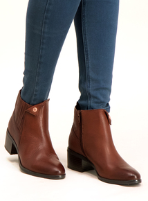 Sole Comfort Tan Leather Folded Stud Ankle Boots