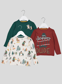 Multicoloured Woodland Animal T-Shirt 3 Pack (9 months-6 years)