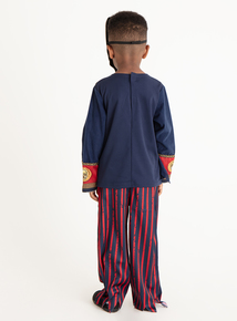 Halloween Navy and Red Pirate Skeleton Costume Set (3-12 years)