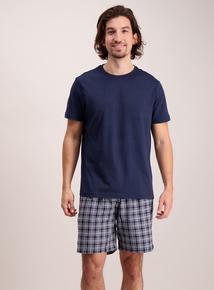 Navy Crew Neck Short Pyjamas