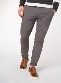 Grey Tapered Fit Chinos With Stretch