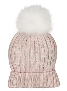 Pink Pearl Sequin & Pom-Pom Beanie Hat