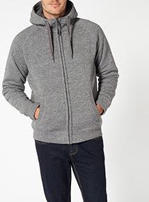 Grey Fleece Lined Hoodie