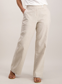 Beige Cross Hatch Linen Trousers