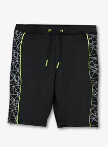 Black Geometric Long Leg Swim Shorts (4-13 Years)