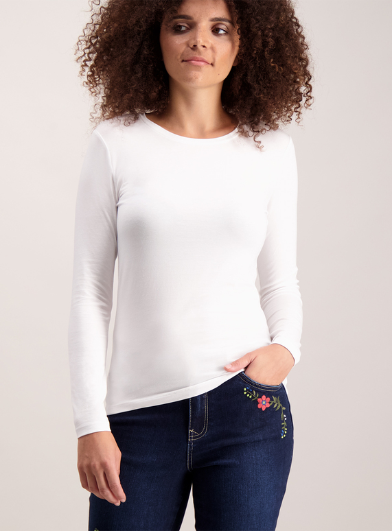 529b209e9c7d Womens White Long Sleeve T-Shirt