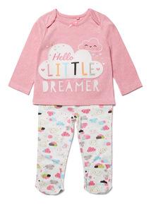 Pink 'Hello Little Dreamer' Slogan Pyjamas (0-24 months)