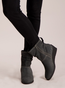 Sole Comfort Grey Suede Wedge Ankle Boots