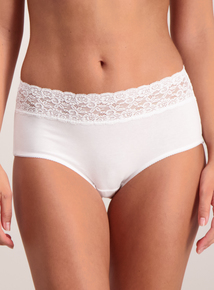 Multicoloured Lace Top Midi Knickers 5 Pack