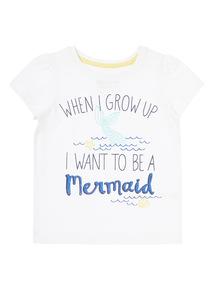 Girls White Mermaid Glitter Top (9 months - 6 years)